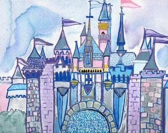 Disneyland Art Print of Sleeping Beauty's Castle Illustration in Watercolor