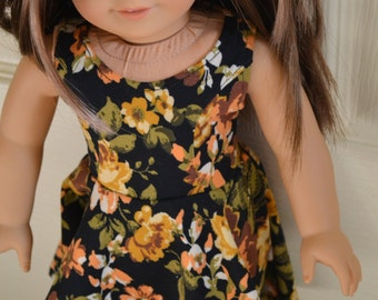 18 inch Doll Clothes - Black Floral Knit Dress - BLACK YELLOW WHITE - fits American Girl