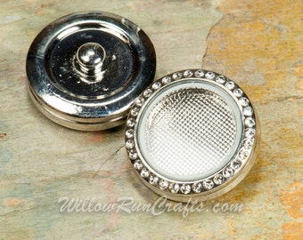 1 Snap 25mm Floating Locket with Crystals, Memory Locket with set of Birthstones, Fits 18mm