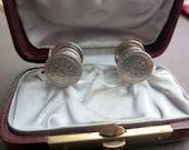 Vintage Silver Cufflinks - 1920s - Snaplink style - Coin Etch