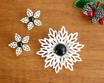 Mid Century Modern Enamel Snowflake Pin and Earring Set / Vintage Black and White Enamel Flower Brooch and Earrings