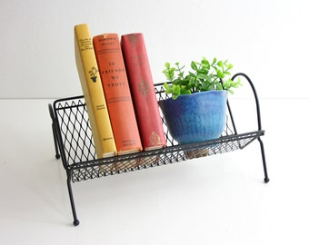 Mid Century Modern Metal Book Rack / Retro Black Metal Desktop Book Shelf / Mid Century Book Rack