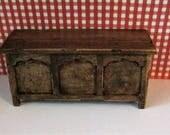 Tudor blanket chest, Dollhouse  Blanket Box,country blanket box, blanket chest, Dower chest, Twelfth scale, dollhouse miniature