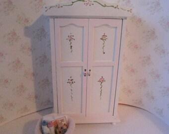 Dollhouse Nursery, nursery wardrobe, dolls, , Nursery , filled wardrobe,Pink and white, Twelfh scale, dollhouse miniature