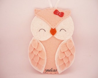 Owl Felt Christmas Ornament for baby girl -  Peach Coral Pink Owl Bird Personalized Ornament 2017