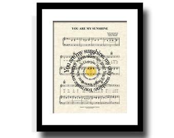 You Are My Sunshine Song Lyric Sheet Music Art Print, Custom Gift, Name and Date, Nursery, Wedding, Anniversary