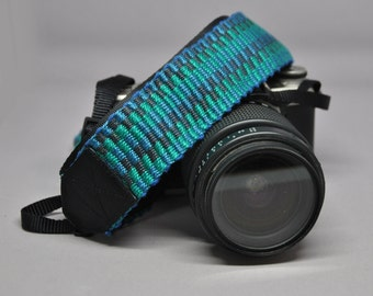 """27"""" Strength-Lined Hand Woven Adjustable Camera Strap (Blue, Teal and Gray)"""