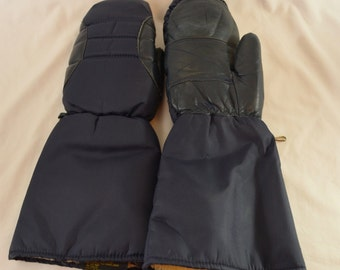 on sale Vintage Giant SNOWMOBILE MITTENS gloves lined Cowhide and Down size xl 1970's