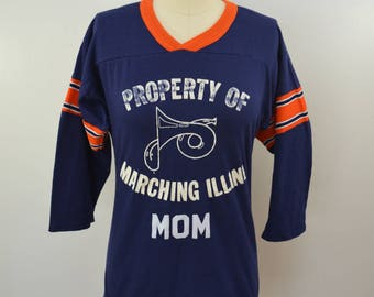 last chance Vintage MARCHING ILLINI Band MOM t-shirt jersey 1970's fighting illini university illinois