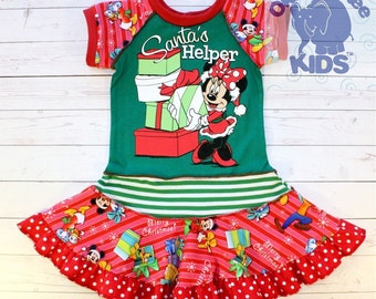 SANTA'S HELPER a dress made out of authentic MINNIE tee - super cool funky upcycled repurposed pieced size 2 some other sizes also available