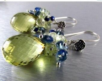 25OFF Lemon Quartz With Kyanite And Lapis Lazuli Gemstone Dangle Cluster Earrings