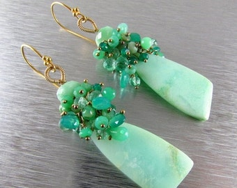 25% Off Chrysoprase Cluster Gold Filled Earrings