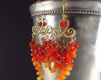 25% Off Shaded Carnelian With Gold Fill Cluster Earrings, Long Ornate Orange Earrings