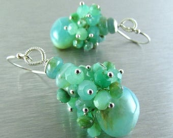 25 % OFF Peruvian Opal and Chrysoprase Sterling Silver Cluster Earring