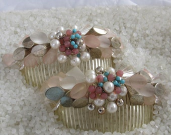 vintage chunky flower hair combs, unique