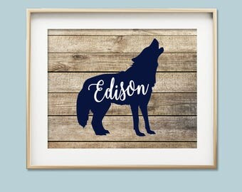 Baby boy nursery wall art woodlands nursery wolf cub print navy blue nursery decor forest animal nursery art personalized baby gift for baby
