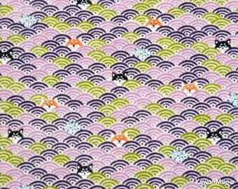Cute Kimono Fabric -Wave Pattern Dogs on Purple - Fat Quarter (nu170509)