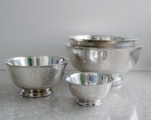 silver plated nesting bowls, four sizes, paul revere oneida, gorham, silverplated bowl set, silver serving bowls, heirloom gift, usa