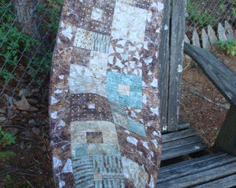 Brown and Teal Aqua Ginkgo Quilted Table Runner