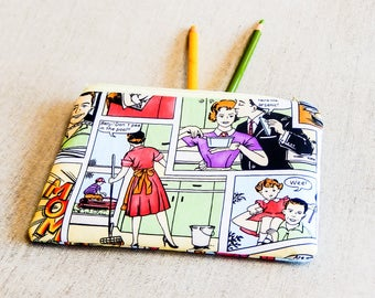 Mother's Day Gift, Zipper Pouch, Coin Purse, Change Pouch, Pencil Case, Pouch, Fabric Pouch, Teacher Gift, Cartoon Pouch, Gift for Mom