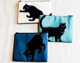 Black Cat Pouch, Cat Zipper Pouch, Fabric Pouch, Pencil Pouch, Cosmetic Pouch, Coin Purse, Change Pouch, Cat Lover Gift, Cat Case, Pouch