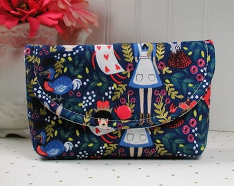 Snap Pouch, Large Snap Pouch, Cosmetic Pouch ... Wonderland in Navy Metallic / Alice in Wonderland / Rifle Paper Co/ Cotton and Steel