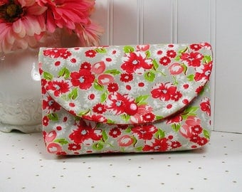 Snap Pouch / Large Snap Pouch / Cosmetic Pouch ... Little Ruby Swoon in Gray