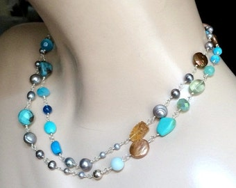 50% SALE Colorful Long Wire Wrapped Gemstone Pearl Necklace Sterling Silver Sautoir Summer Fashion Rosary Style Turquoise Gemstone