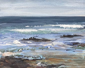 "Mini Seascape - 4"" x 4"" beach with rocky shore,  small canvas painting with easel"