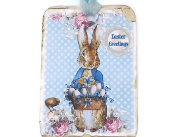 Easter Gift Tags, Vintage Peter Rabbit Easter Tags, Blue Bunny Tags, Easter Chicken, Shabby Easter Boy Tags,  Happy Easter Australia