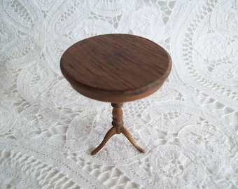 Miniature, one inch scale, hand made, Round Pedistal Table by Jon Hinrichsen