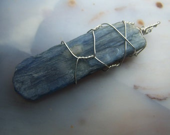 Blue Kyanite crystal blade - Sterling Silver wire wrapped necklace pendant 2 inch - natural raw Crystal wrap - Brazil coyoterainbow QJF14