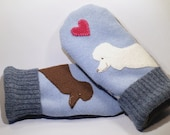RESERVED FOR LAURIE wool Sweater Mittens Blue Brown and White Poodle Applique and Leather Palm Eco Friendly Upcycled  Size L