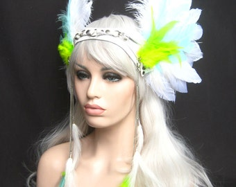 Winged headwear headpiece, Feathered headwear, Unisex headpiece,  Custom:Rara avis collection by Renegade Icon designs