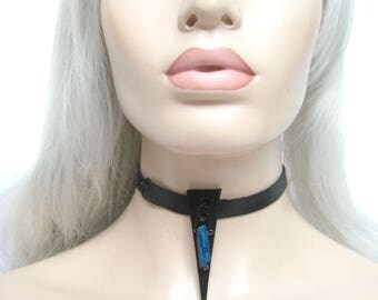 Sister Sister: by Renegade Icon designs, leather magic crystal choker, talisman necklace series