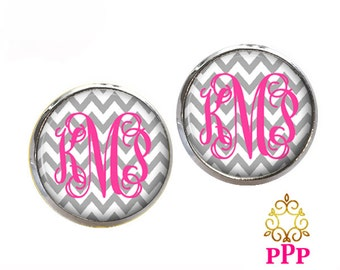 Monogram Stud Earrings, Gray Chevron Monogram Earrings, Personalized Monogram Earrings, Monogram Jewelry, Bridesmaid Jewelry (498)