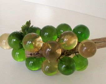 Vintage Green and Yellow Grape Cluster on Driftwood Resin Acrylic Grapes Retro
