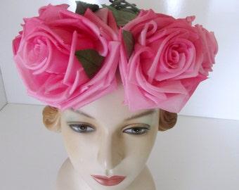 Vintage Spring Hat Sunday Hat Huge Pink Cabbage Roses Head Band Wedding Veil headdress Floral Hat