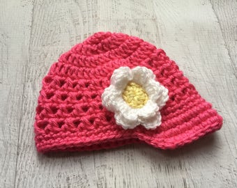 Crochet Baby Hat, Baby Girl Hat, Visor Hat, Hot Pink Baby Hat, Hat with Flower, Crochet Flower Hat, READY TO SHIP