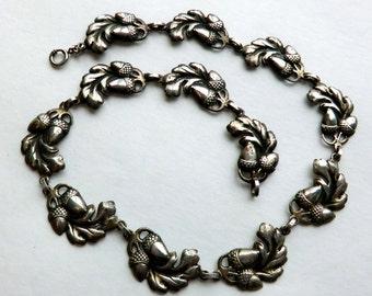 Vintage Sterling Acorn Oak Leaf Necklace signed Viking Craft ca 1940