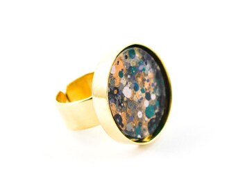 Splatter Painted Adjustable Ring - Acrylic in Round Brass Ring - Black, Gold, Rust, Teal - One-of-a-kind Jewelry Gifts For Her