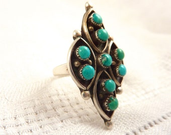 Vintage Size 7 Turquoise and Sterling Silver Native American Petit Point Ring