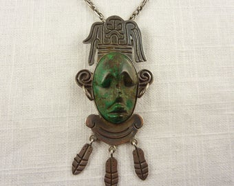 Huge Vintage Mexican Sterling and Raw Malachite Aztec Mask Pendant/Brooch with Dangles on Long Mexican Sterling Chain Signed