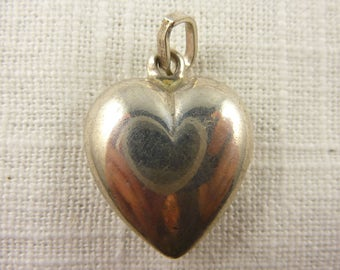 Vintage Italian .800 Silver Puffy Heart Pendant