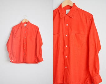 Size M // RED CORDUROY OXFORD // Long Sleeve Button-Up Shirt - Thin-Ribbed Cords - Bright Red - Made in Japan - Vintage '60s.