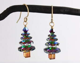Color changing crystal Christmas tree 14k gold filled earrings - green, gold, magenta sparkle - Holiday- free shipping USA
