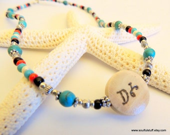 Water is Life Necklace, Seed Bead Necklace, Handcrafted Jewelry, Turquoise Jewelry, Cherokee Language, Native Style Choker