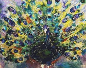 Peacock Cross Stitch Kit,  Counted Cross Stitch Kit,  Colorful Cross Stitch, Rozanne Bell Art, Modern Bird Cross Stitch Set, Beautiful Art