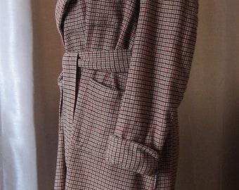 Vintage Tweed Bathrobe Hipster Men's Smoking Jacket Checked Tweed ? Wool or Blend Shawl Collar Cuffs Wrap Robe with Tie Belt 3 Front Pockets