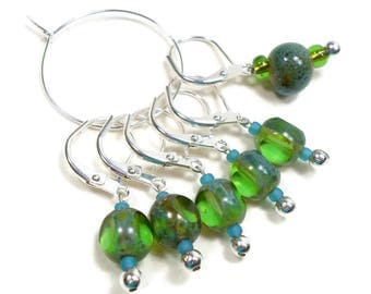 Locking Removable Stitch Markers Crochet Beaded Green Blue Row Markers Knitting Supplies DIY Crafts